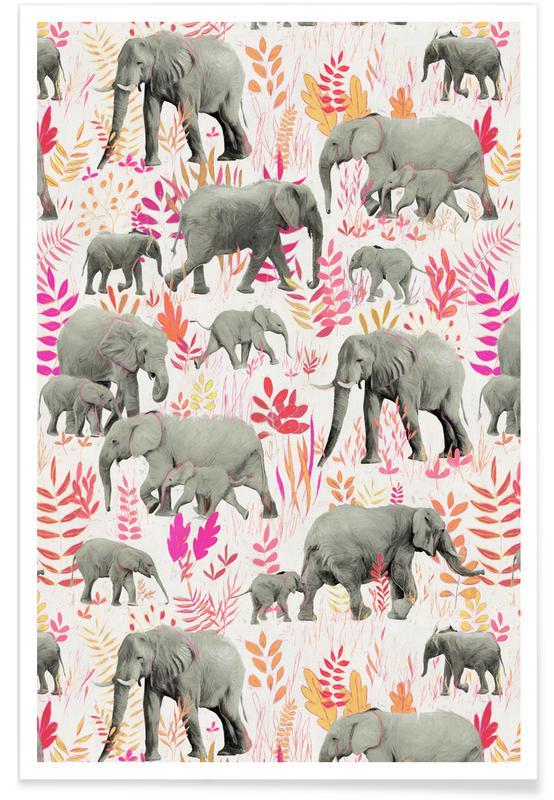 Éléphants, Motif éléphants roses et orange affiche