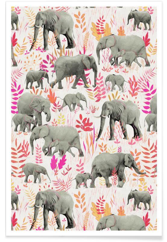 Elephants, Elephants Pink and Orange Pattern Poster