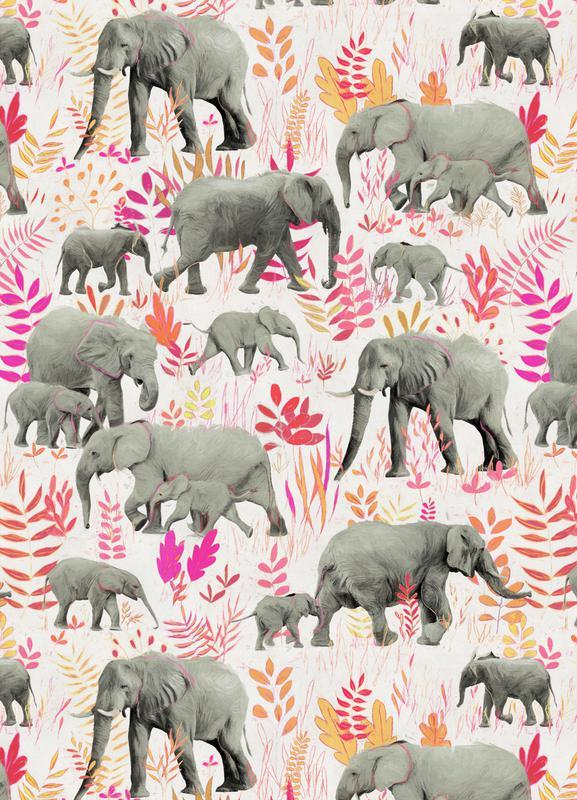 Sweet Elephants in Pink Orange canvas doek