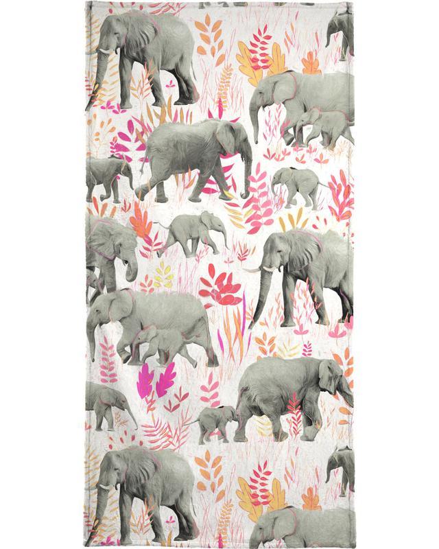 Elephants, Sweet Elephants in Pink Orange Beach Towel