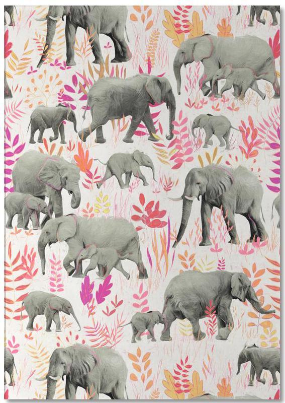 Sweet Elephants in Pink Orange Notepad