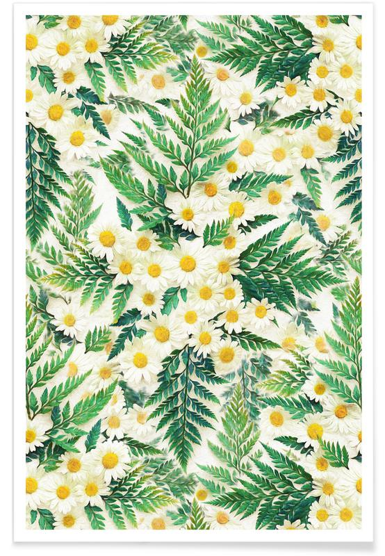 Textured Daisy and Fern Pattern Poster