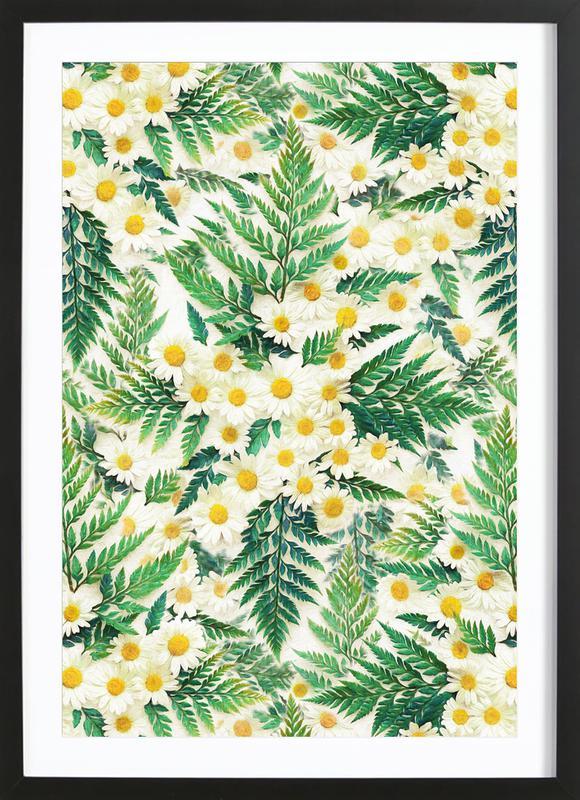 Textured Vintage Daisy And Fern -Bild mit Holzrahmen