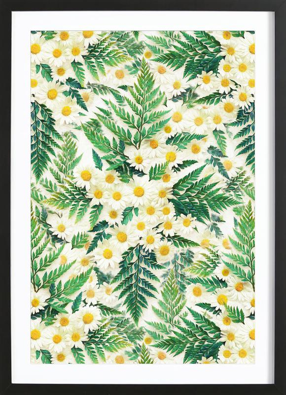 Textured Vintage Daisy And Fern Framed Print