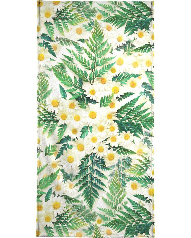 Textured Vintage Daisy And Fern -Handtuch