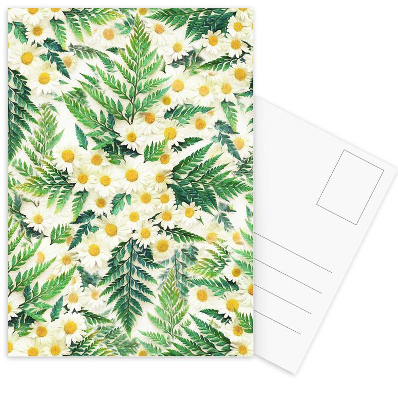 Textured Vintage Daisy And Fern Postcard Set