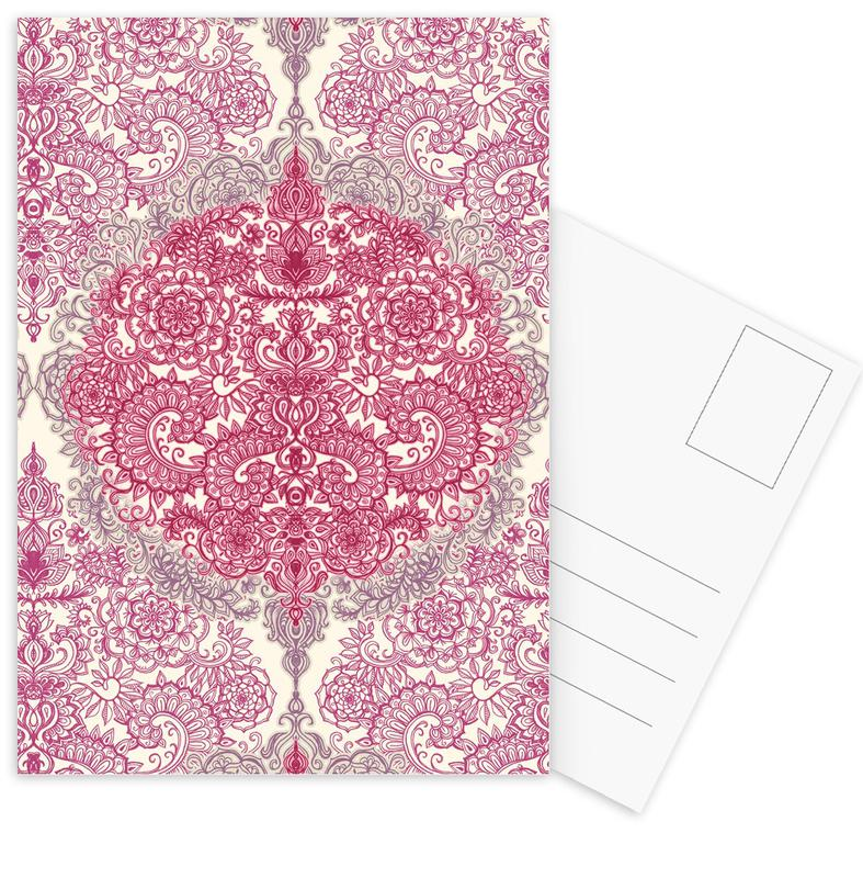 Happy Place Doodle in Pink Postcard Set