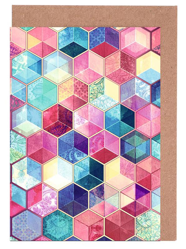 Topaz And Rubey Crystal Honeycomb Cubes Greeting Card Set
