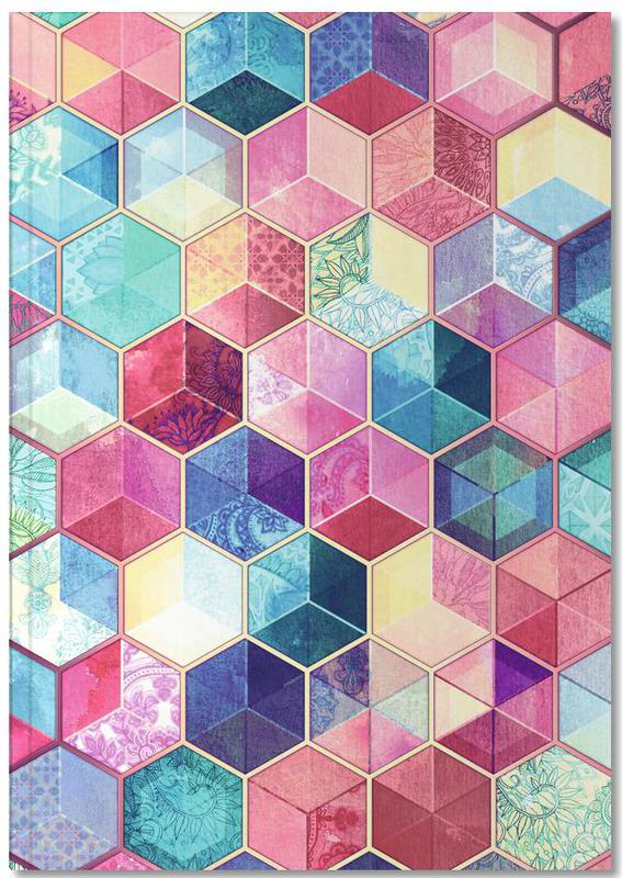Patterns, Topaz And Rubey Crystal Honeycomb Cubes Notebook