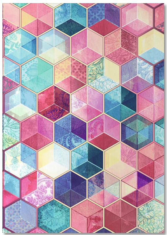 Topaz And Rubey Crystal Honeycomb Cubes Notepad