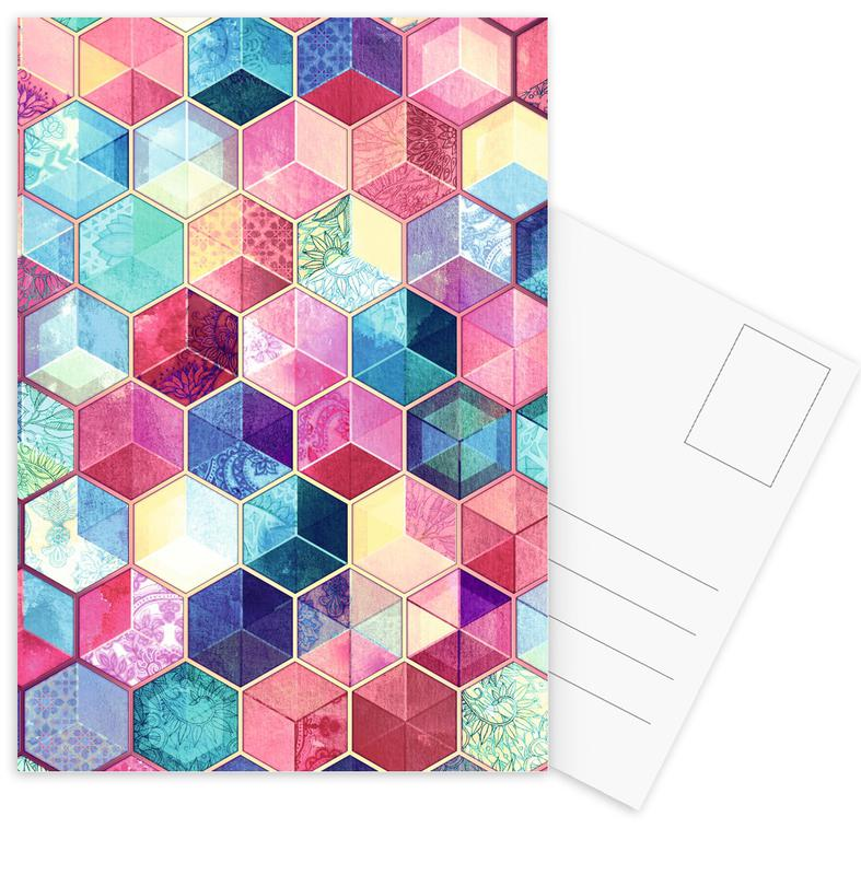 Topaz And Rubey Crystal Honeycomb Cubes Postcard Set