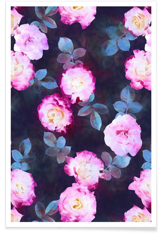 Twilight Roses Pattern Poster