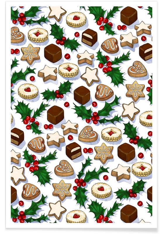 Noël, Motif gâteries et biscuits de Noël affiche