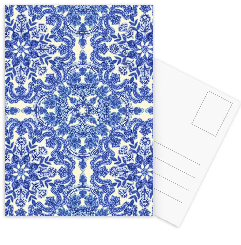 Blue & White Folk Art Pattern Postcard Set