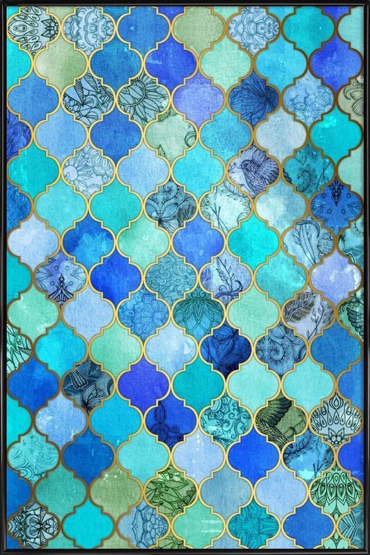 Cobalt Moroccan Tile Pattern Framed Poster