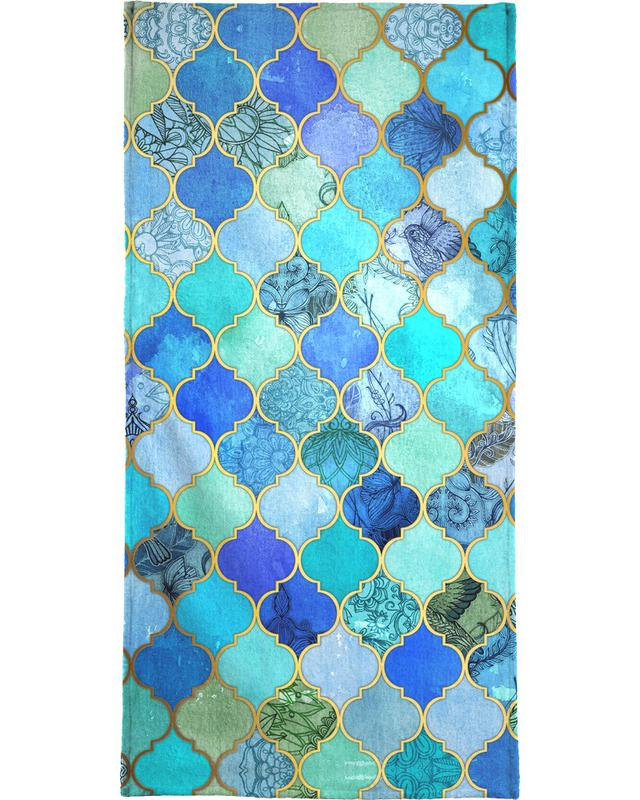Cobalt Moroccan Tile Pattern Beach Towel