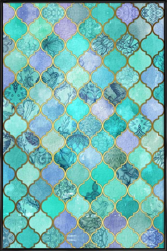 Mint Moroccan Tile Pattern Framed Poster