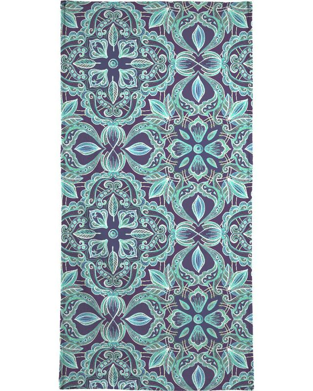 Chalkboard Floral - Teal & Navy Bath Towel