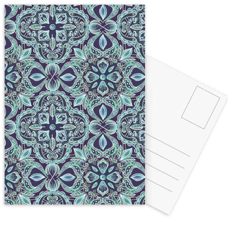 Patterns, Chalkboard Floral - Teal & Navy Postcard Set