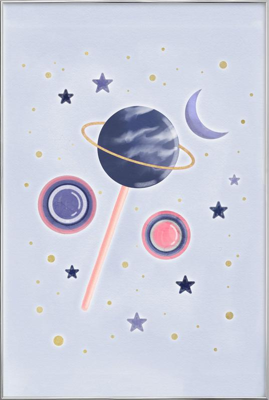Lollipop Planet affiche sous cadre en aluminium