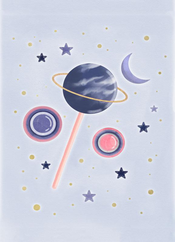 Lollipop Planet canvas doek