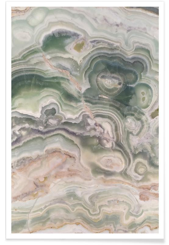 , Gray and Gold Agate Poster