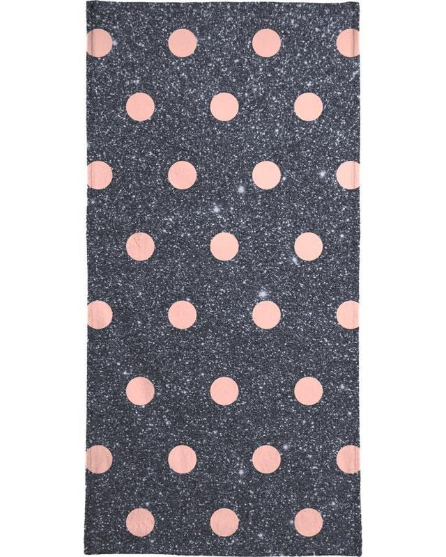 Pink Polka Dots on Shiny Background serviette de bain
