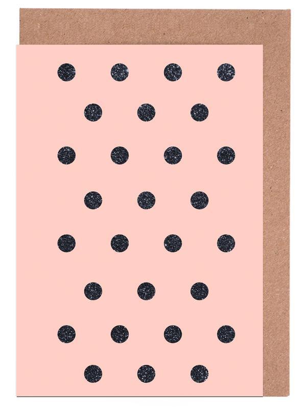 Shiny Polk Dots On Pink cartes de vœux