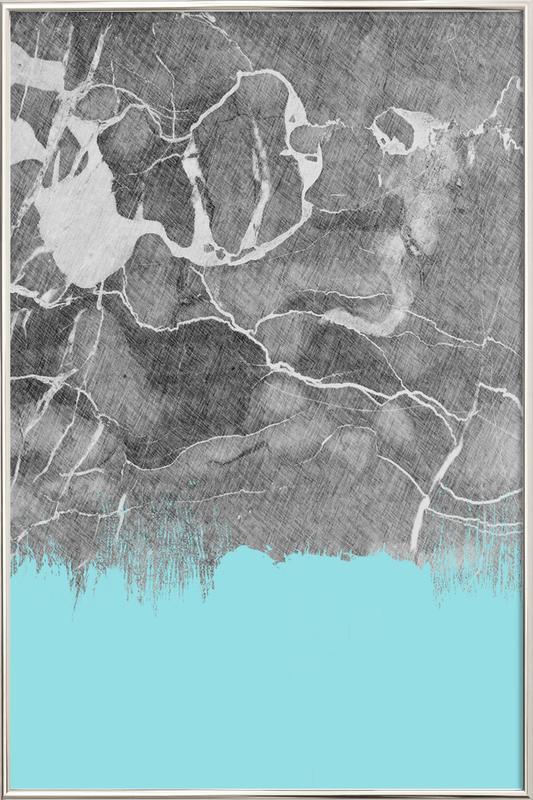 Crayon Marble and Sea Prints affiche sous cadre en aluminium