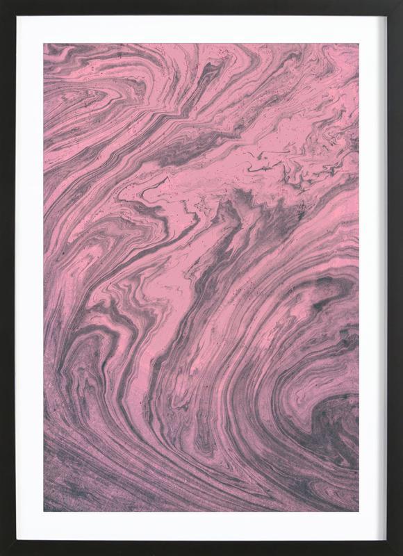 Pink Marbled Texture affiche sous cadre en bois