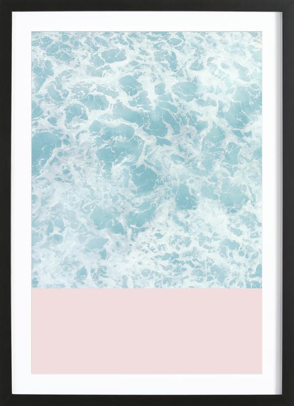 Pink on the Sea affiche sous cadre en bois