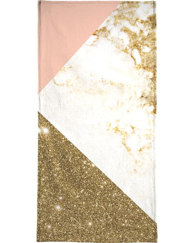 Pink and Gold Marble Collage -Handtuch