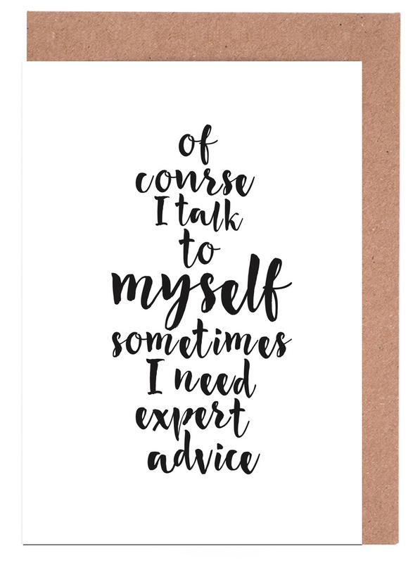 Black & White, Funny, Quotes & Slogans, Expert advice Greeting Card Set