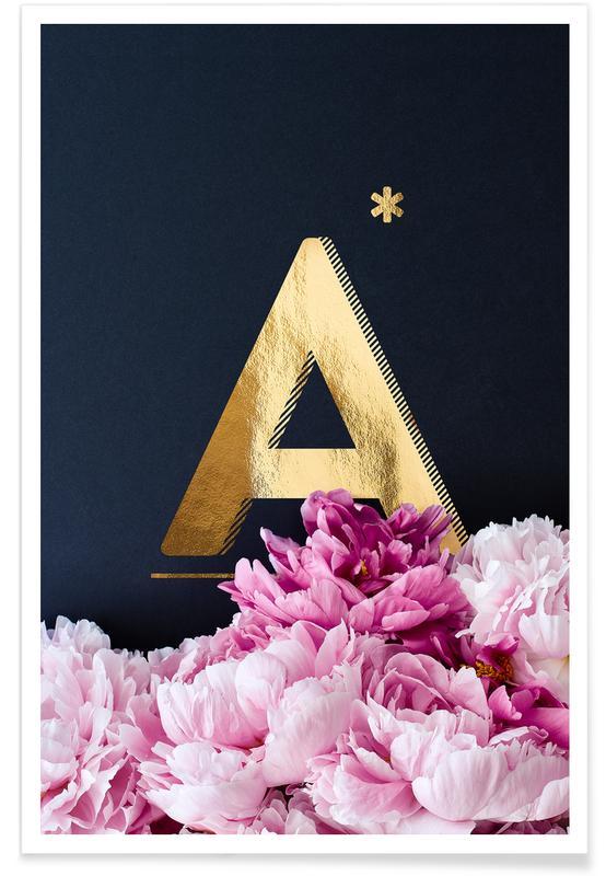 Flower Alphabet A Poster