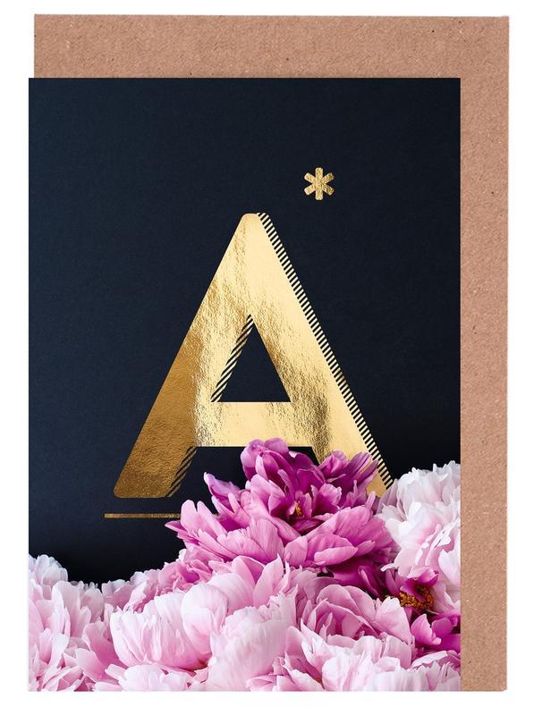 Flower Alphabet A -Grußkarten-Set