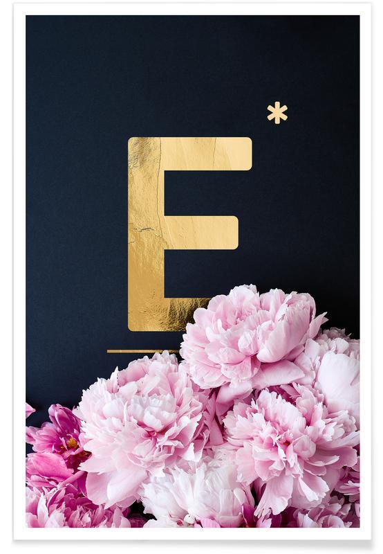 Flower Alphabet E Poster