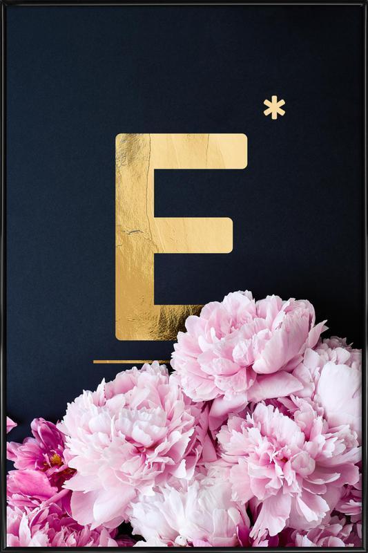 Flower Alphabet E Framed Poster