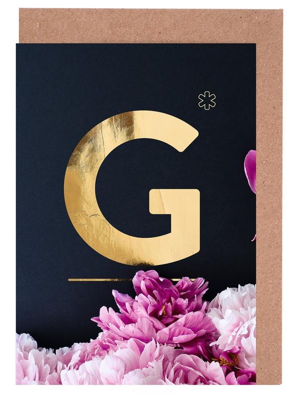 Flower Alphabet G -Grußkarten-Set