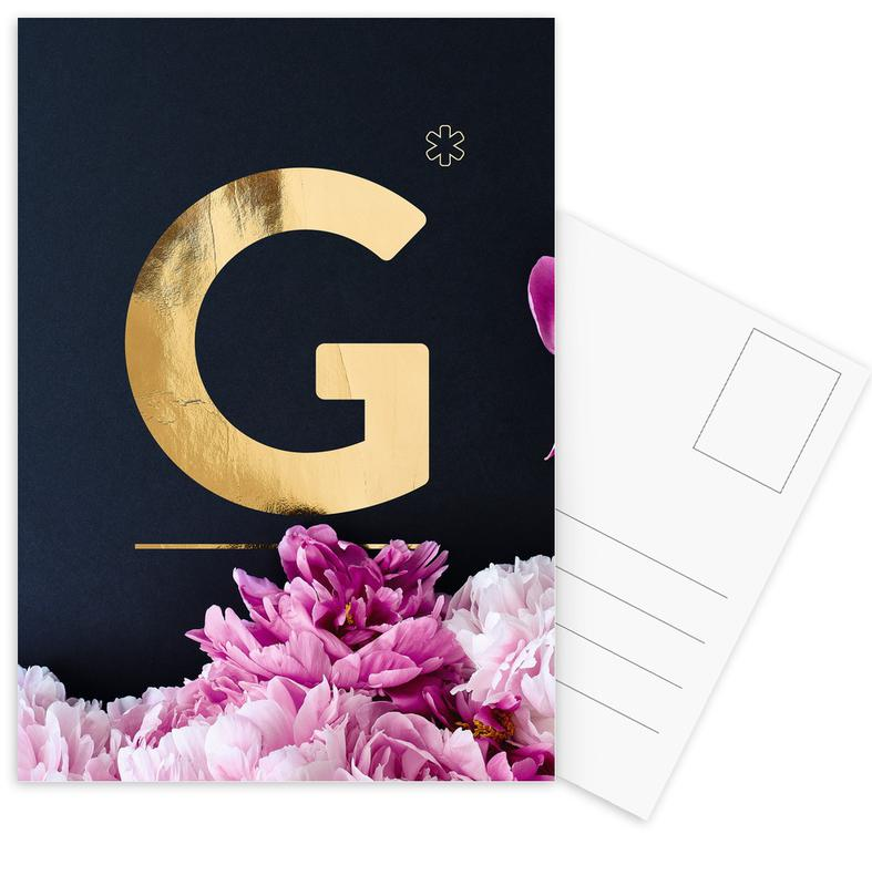 Flower Alphabet G -Postkartenset