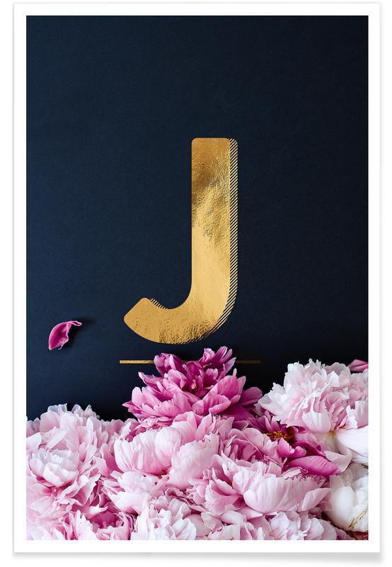 Alphabet et lettres, Flower Alphabet J affiche