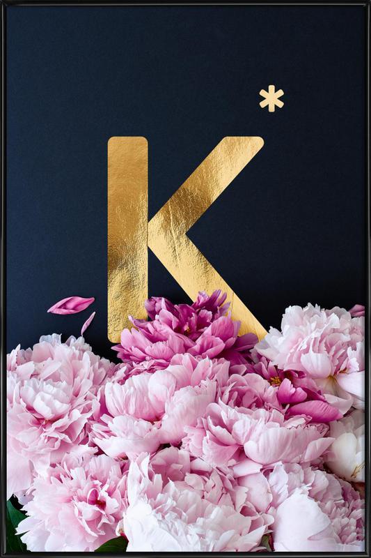 Flower Alphabet K Framed Poster