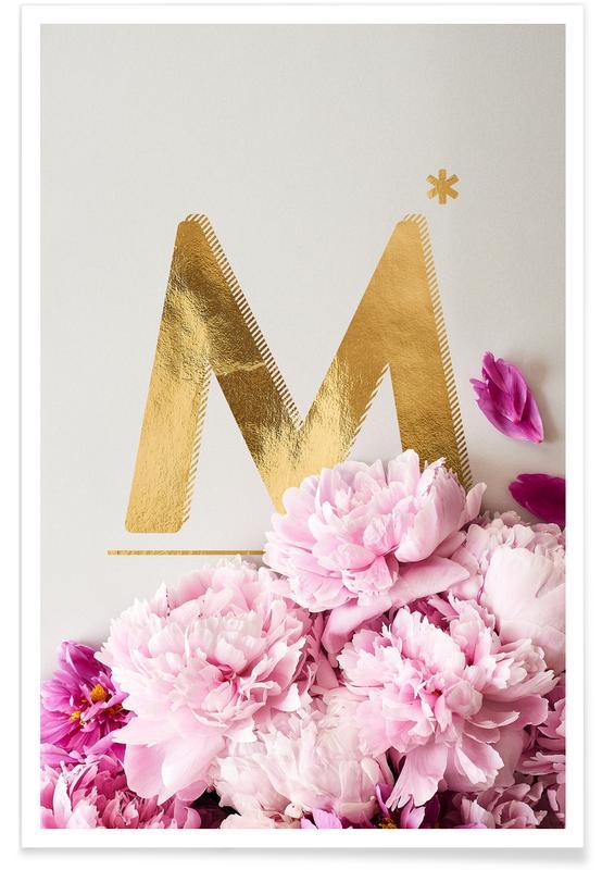 Flower Alphabet M -Poster