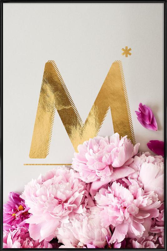 Flower Alphabet M Framed Poster