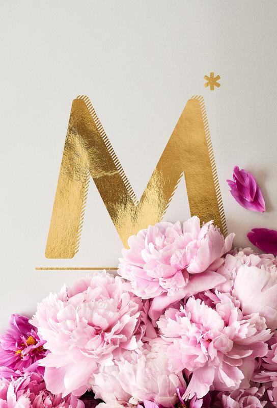 Flower Alphabet M Aluminium Print