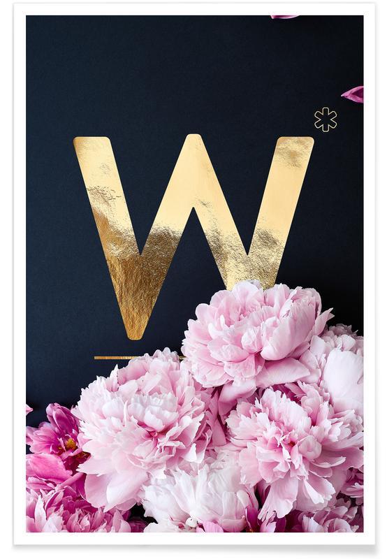 Flower Alphabet W Poster