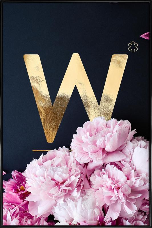 Flower Alphabet W Framed Poster
