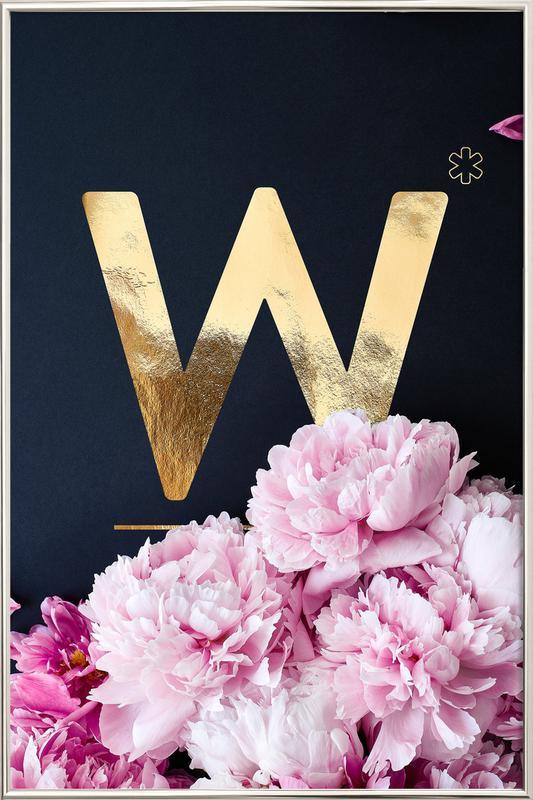 Flower Alphabet W Poster in Aluminium Frame