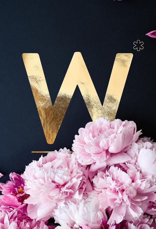Flower Alphabet W -Acrylglasbild