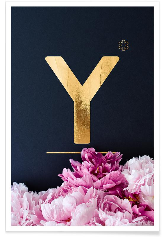 Alfabet en letters, Flower Alphabet Y poster