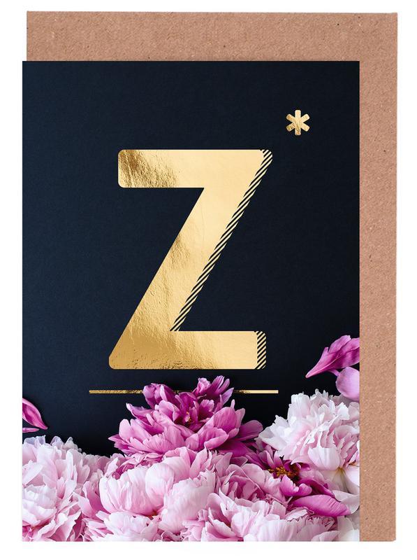 Flower Alphabet Z Greeting Card Set
